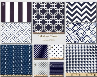 Custom Baby Crib Bedding -Design Your Own-  Modern Classic- Navy and white