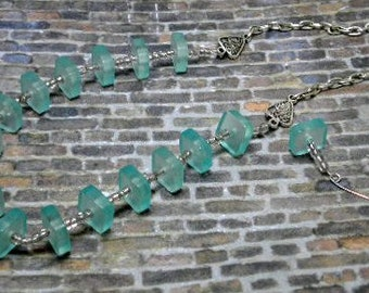 Aqua Squares on Chain Necklace Set