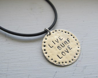 Surf jewelry LIVE, SURF, LOVE Hand stamped necklace,personalized necklace,sterling silver surfer necklace,