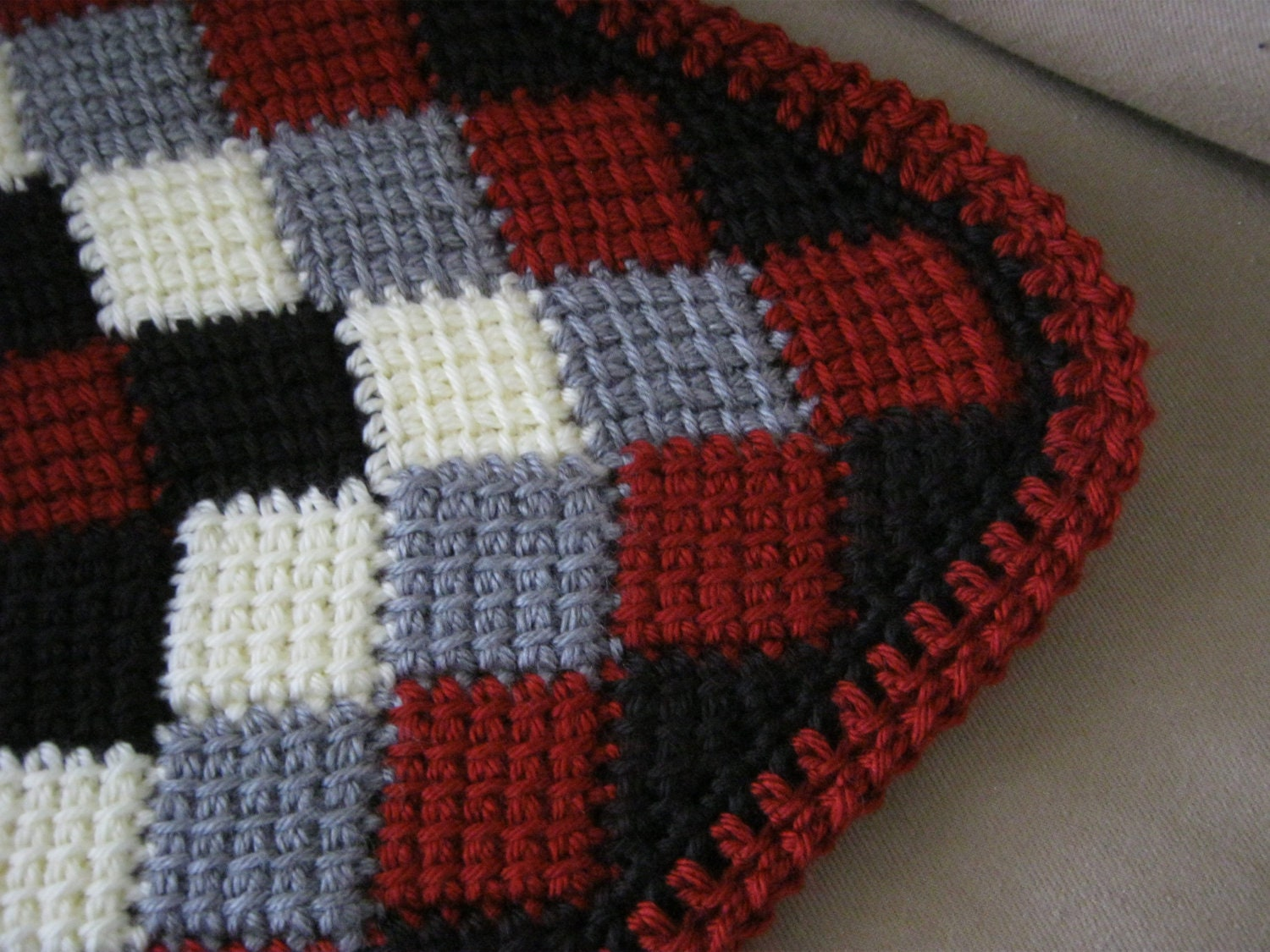 Red White Grey Black Crochet Baby Blanket By Forbabycreations