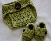 You Choose Colors Baby Diaper Cover and Booties Set, Baby Boy Photo Prop, Baby Girl Photo Prop