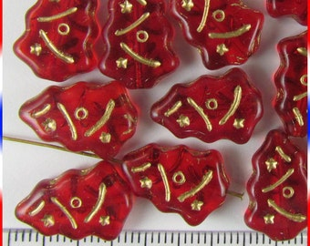 Christmas Tree Beads 12mm x 17mm Czech Glass - Ruby Red (12)