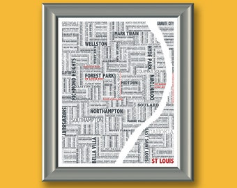 St Louis Typography Map 8x10 Print