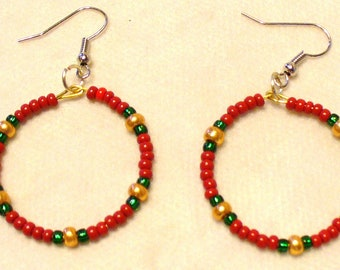 Seed Bead Hoop Earrings - Red, white, green