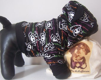 "Size XS Black Cotton Dog Hoodie, ""Dem Bones"""