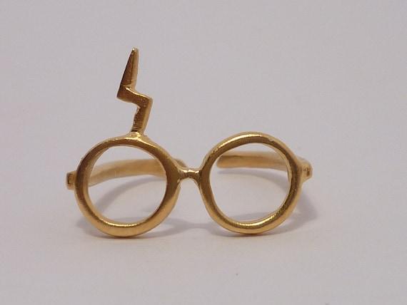 Harry Potter. Lightning glasses.Silver gold plated 18K ring.