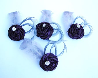 Set of four purple bridesmaids flower fascinator,  wedding hair piece - Eggplant rosette with grey goose feathers and rhinestone - Patina