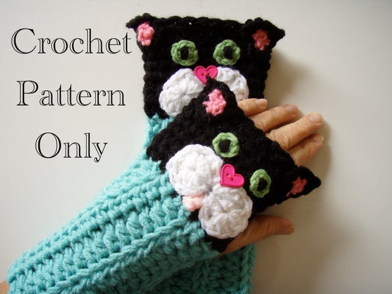 Crochet Kitty Cat Fingerless Gloves Pattern PDF