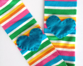 Striped Heart Baby Leg Warmers: Yellow, green, pink, turquoise with heart applique