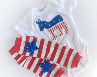 democrat donkey one piece bodysuit with red, white and blue star baby leg warmers