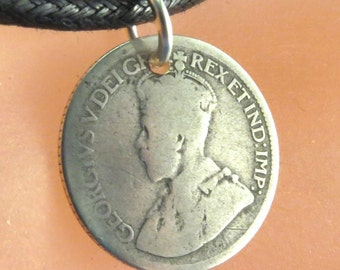 antique Canadian COIN  charm NECKLACE Canada pendant jewelry . dime.  love token. fob.  charm.  No.00786-2