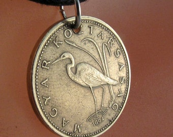 HUNGARY COIN NECKLACE pendant white egret crane  jewelry. magyar . 5 florint. koztarsasag. No.001204
