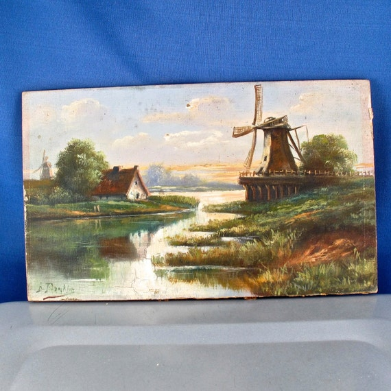 ANTIQUE OIL PAINTING. dutch. windmill. turn of the by ...