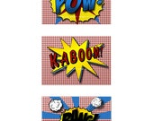 "Boy Pop Art Prints-""KABOOM, BANG, POW"" sound effects in comic book style- 5x7 prints"