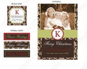 DIY  Holiday Dressy 1 Christmas Deluxe  PRINTABLE Photo Card brown tan red green Happy Holiday Greeting 5x7 4x6 photo return label