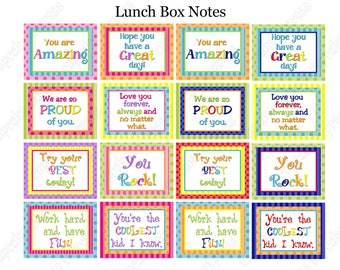 INSTANT DOWNLOAD  Sale DIY Printable Lunch Box Notes Boy and Girl