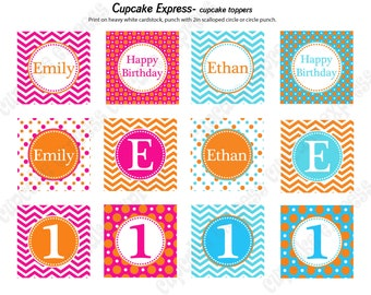 DIY  Twins Orange blue pink  Birthday Party PRINTABLE Cupcake Toppers favor tags baby shower Chevron polka dots