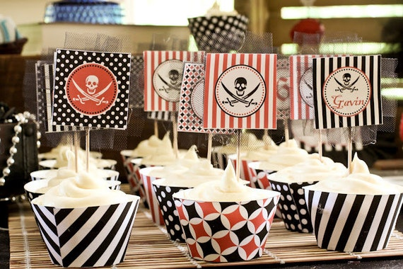 DIY Pirate Birthday Party  PRINTABLE Cupcake Toppers   black  red white or we can PRINT them...