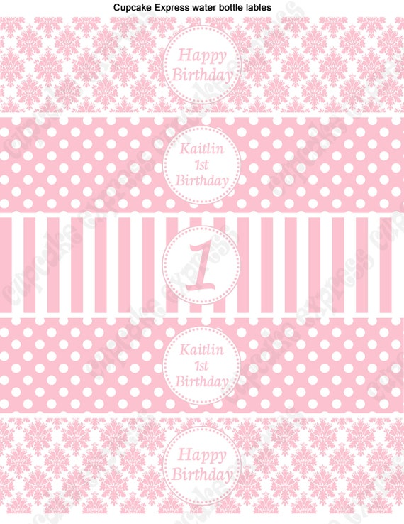 DIY  Shabby Chic Baby Girl Shower  Birthday  Printable Party Water Bottle Labels  pink white damask stripes polka dots