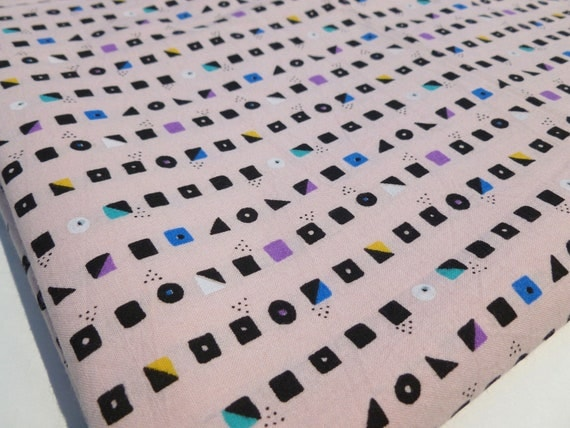 Pink Geometric Fabric with Black, Purple, Blue, Yellow and Teal Shapes Circles, Squares and Triangles 1980s Destash Yardage
