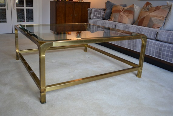 Items Similar To 40 Square Brass And Glass Coffee Table Mastercraft On Etsy
