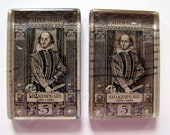 Shakespeare vintage postage stamp magnets - set of 2