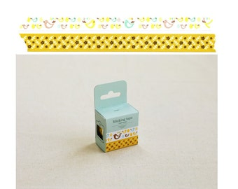 Flowers and Birds Washi Tape Set - Mustard Yellow Aqua Blue and Brown Washi Tape Set - 15mm x 10m