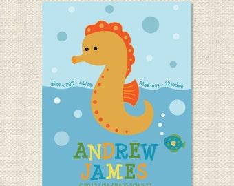 Custom Seahorse Nursery Baby Name And Info Print 8x10