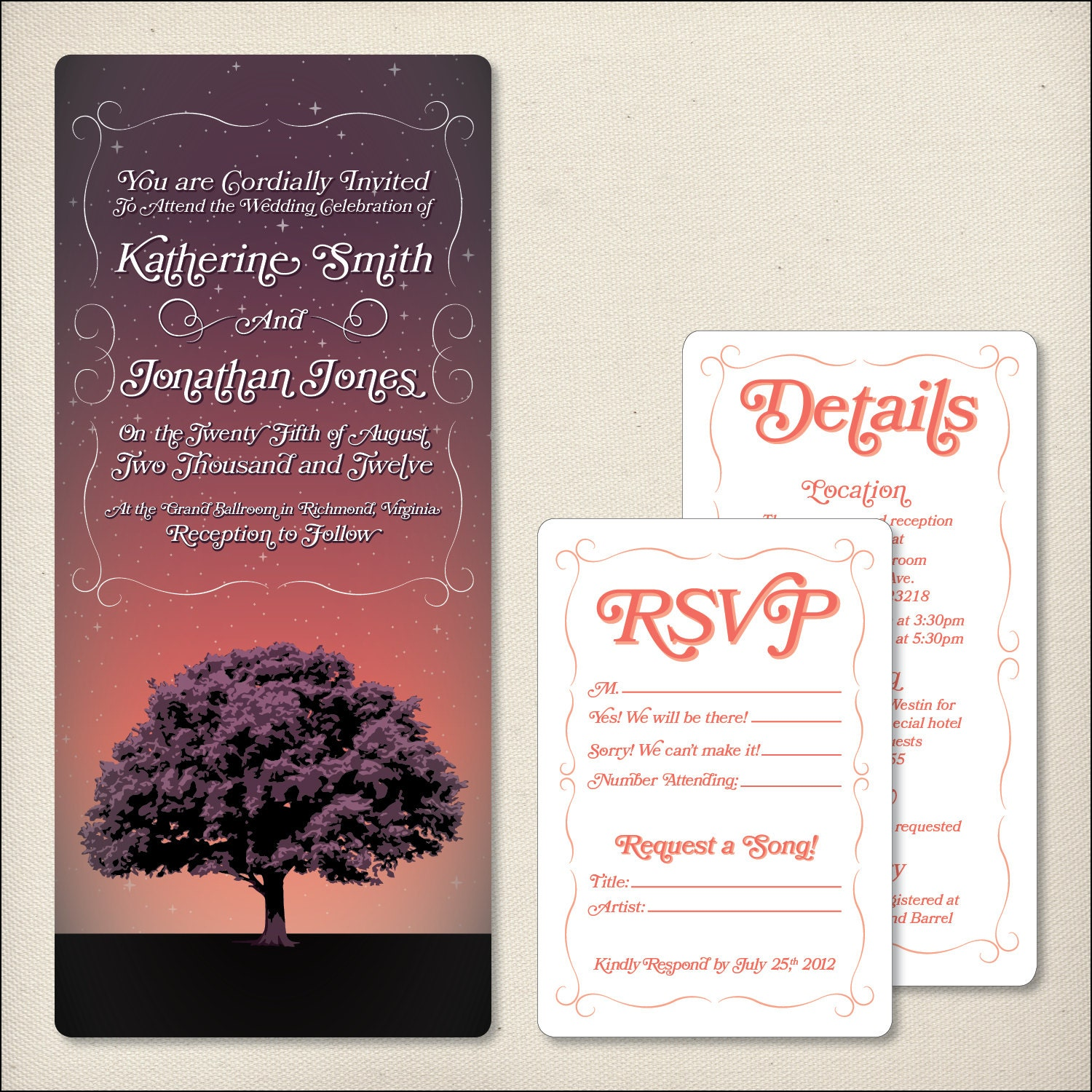 The Stars Above Wedding Invitation Package