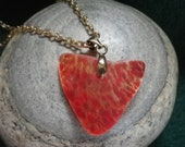 Red Hand Blown Art Glass Heart Necklace