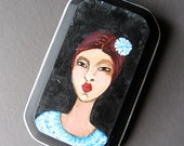 Original Painting - Portrait of a Lovely Senorita - Small Painting on Wood - Ready To Hang