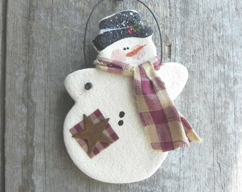 Snowman Christmas Ornament Salt Dough Xmas Decor