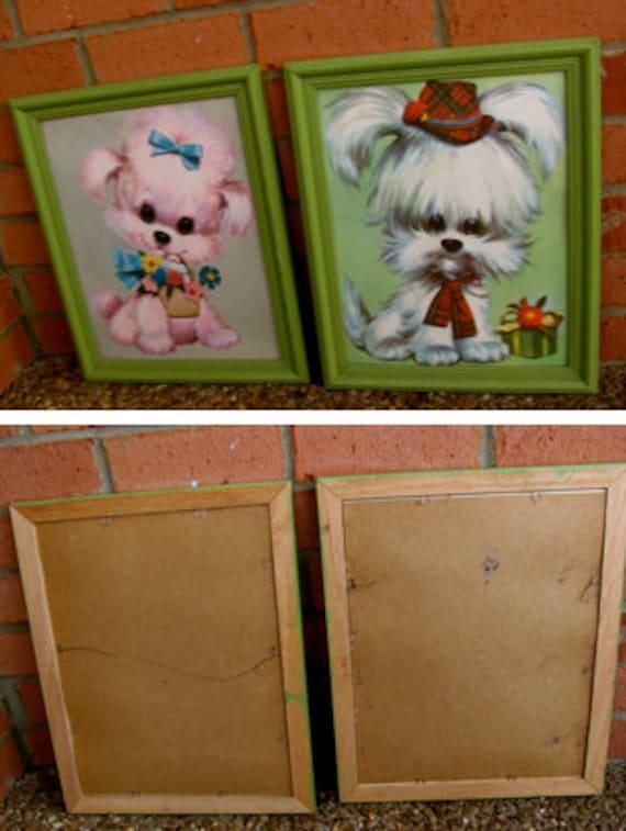 SALE Vintage Framed Fluffy Puppy Prints SALE