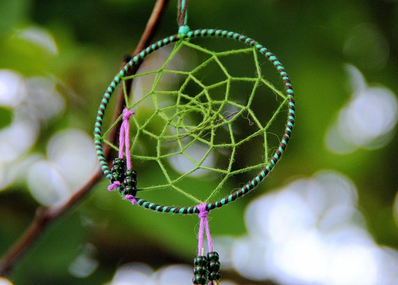 """Peacock Feather 3"""" Embroidery Floss Dreamcatcher"""