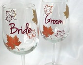 Bride and Groom, Set of 2 Fall wine glass, gold brown and burnt orange leaves, fall theme wine glass, autumn wedding