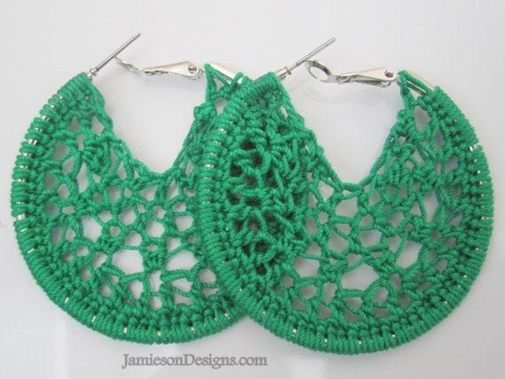 Green Crochet hoop earrings - 2 inch small