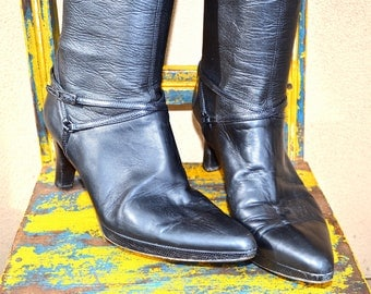 PREVATA ITALY tall black leather lizard embossed BOOTS size 9