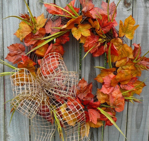 Fall Wreath - Fall Wreath with Mesh Burlap Bow and Autumn Leaves - Autumn Wreath