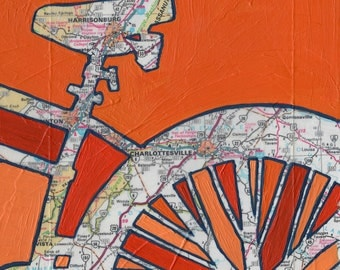 BIke Charlottesville print - featuring Charlottesville, Harrisonburg,  Virginia  University of Virginia Bike art print