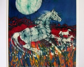 Horse Gallops in Summer Field in the Light of the Full Moon  -  original batik painting - horse art