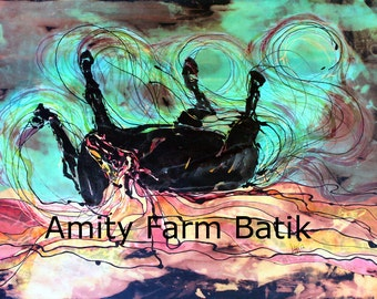 Horse Born of Earth, Water, Sky -  giclee print limited edition from batik painting
