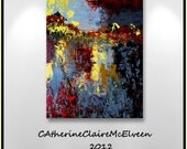 """Large Original Contemporary Abstract  Painting Palette Knife painted  on Canvas 40"""" x 30"""" Red, Brown,Grey,Silver  CatherineClaireMcElveen"""