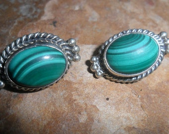 Malachite with Sterling Silver  Ornate Vintage  Earrings