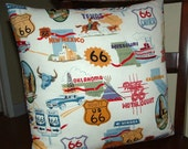 ROUTE 66 THROW PILLOW Cover 18 x 18  100 Percent Cotton Print Cover