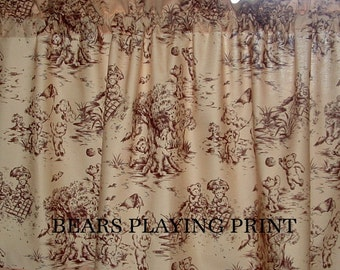 SALE PRICED 1 (one) Valance Curtain Bears At Play Fabric Nursery Toddler Childs Room 40 X 18
