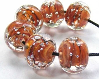 Artisan made lampwork glass bead set of 6 tiger spankle beads in orange, amber and brown with silver