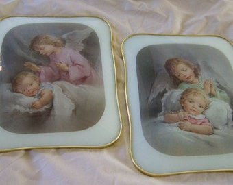 Two Matching Vintage Italian Angel Baby Child Picture Wall Hangings