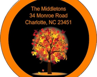 Four Seasons Round Return Address Labels, Return Address Labels, Personalized Return Address, Round Address Labels, Custom Address Labels