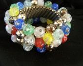 Vintage Art Glass Bead Cha Cha Bracelet BR5338