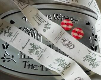 Retro Beige Nature Bear Flower Leaf Herbs Plants Bag Purse Clothes - 7 Different Patterns - Handmade Fabric Tape Cotton Label Ribbon